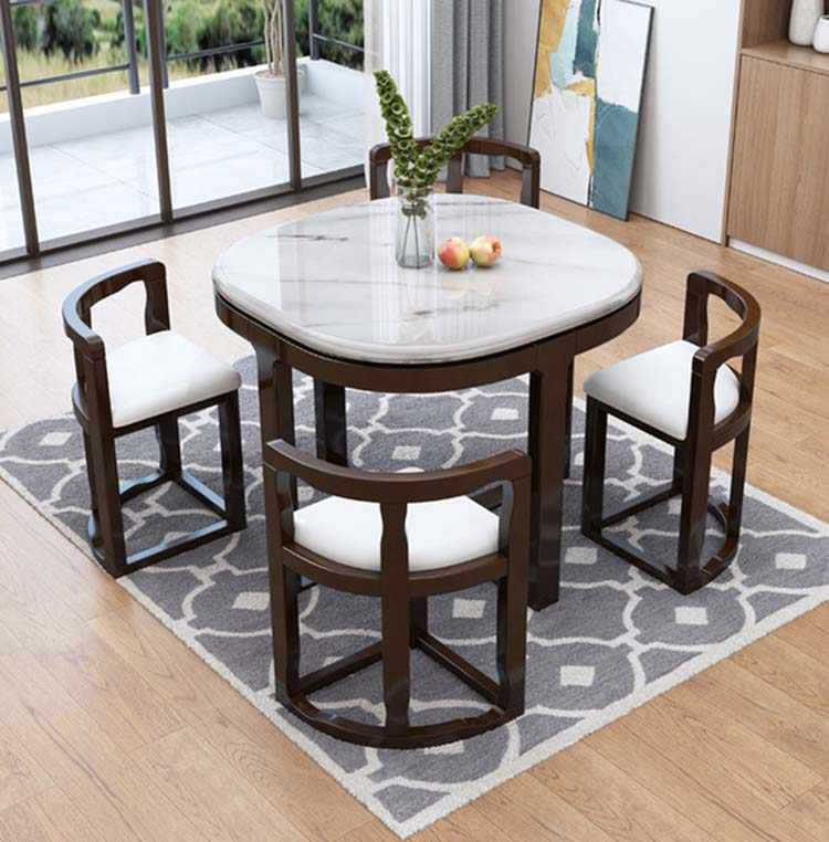 Marble Dining Table With 4 Chairs Set Combination Simple Modern Small Apartment Home Kitchen Furniture Dining Tables Aliexpress
