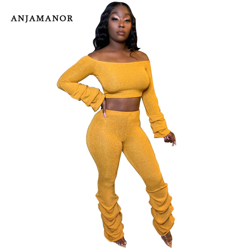 ANJAMANOR Fashion 2020 Ruched Off Shoulder Two Piece Set Top and Pants 2 Piece Sets Womens Clothing Sexy Club Outfits D0-AI51