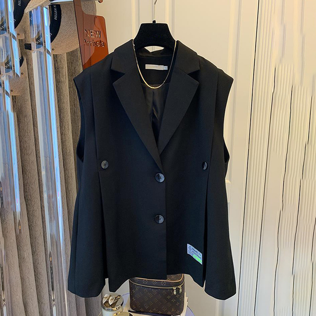 [EWQ] Simple Fashion Trend Ladies Vest Black Office Ladies Clothing 2021 Summer New  Letter Pleated Suit Collar Coats 16W1598 2