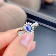 KJJEAXCMY boutique jewelry 925 sterling silver inlaid natural sapphire ring trendy ladies classic support testing
