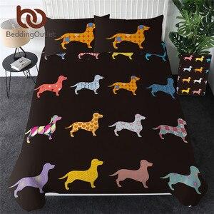 Image 1 - 침구 류 닥스 훈트 침구 세트 귀여운 다채로운 강아지 이불 커버 만화 침대 커버 애완 동물 강아지 홈 섬유 퀸 3pcs Dropship