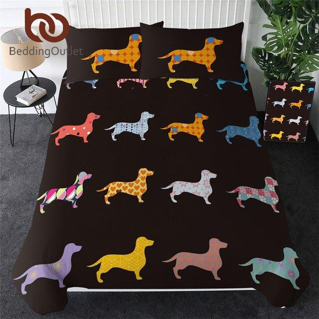 침구 류 닥스 훈트 침구 세트 귀여운 다채로운 강아지 이불 커버 만화 침대 커버 애완 동물 강아지 홈 섬유 퀸 3pcs Dropship