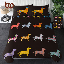 BeddingOutlet Dachshund Bedding Set Cute Colorful Puppy Duvet Cover Cartoon Bed Cover Pet Dog Home Textiles Queen 3pcs Dropship