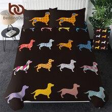 Beddingoutlet Teckel Beddengoed Set Leuke Kleurrijke Puppy Dekbedovertrek Cartoon Bed Cover Pet Hond Thuis Textiel Koningin 3Pcs Dropship