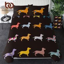 Beddingoutlet dachshund conjunto de cama bonito colorido filhote cachorro capa edredão dos desenhos animados capa de cama pet cão têxteis para casa rainha 3 pçs dropship