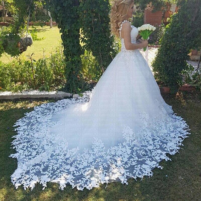 Vestido De Noiva Sheer Train Wedding Dress 2019 Elegant Lace Robe De Mariee Applique Garden Princess Bridal Gowns