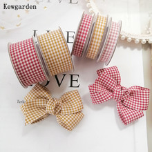 Kewgarden Linen Plaid Ribbon 1.5 1 10mm 25mm 38mm DIY Corsage Hairbow Crafts Sewing Accessories Handmade Tape 10 Yards