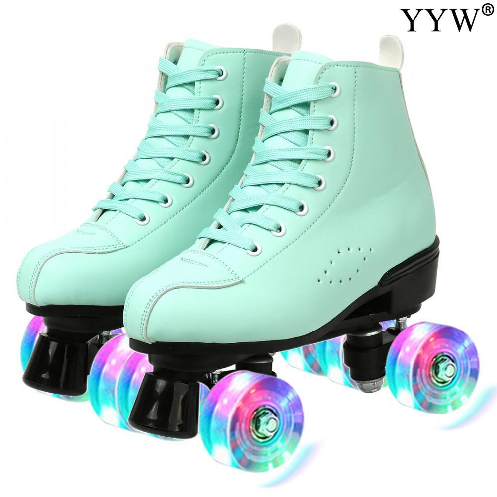 Women Quad Roller Skates Skating Shoes Sliding Sneaker Figure 4 Wheel 2 Row Line Outdoor Training Gy