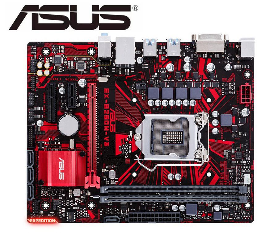 Desktop Motherboard ASUS EX-B250M-V3  For Intel  DDR4 LGA 1151 32GB USB3 .0 SATA3.0 B250 Used Motherboard Mainboard PC