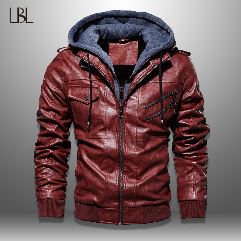 Mens PU Jackets 2019 Streetwear Leather Hooded Coat Men 2019 Cool Motorcycle Jacket Male Winter Autumn Jaquetas De Motocicleta