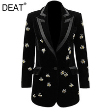 Women Pocket-Jacket Turn-Down-Collar High-Waist New-Fashion Mid-Length Full DEAT WO51101L