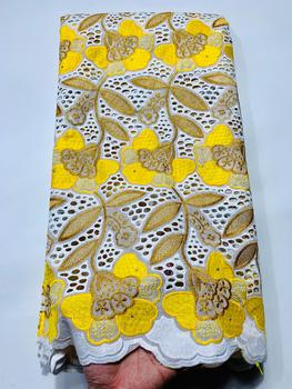 7 colors (5yards/pc) Wholesale price African cotton lace yellow white Swiss voile lace fabric with embroidery for dress CXS009