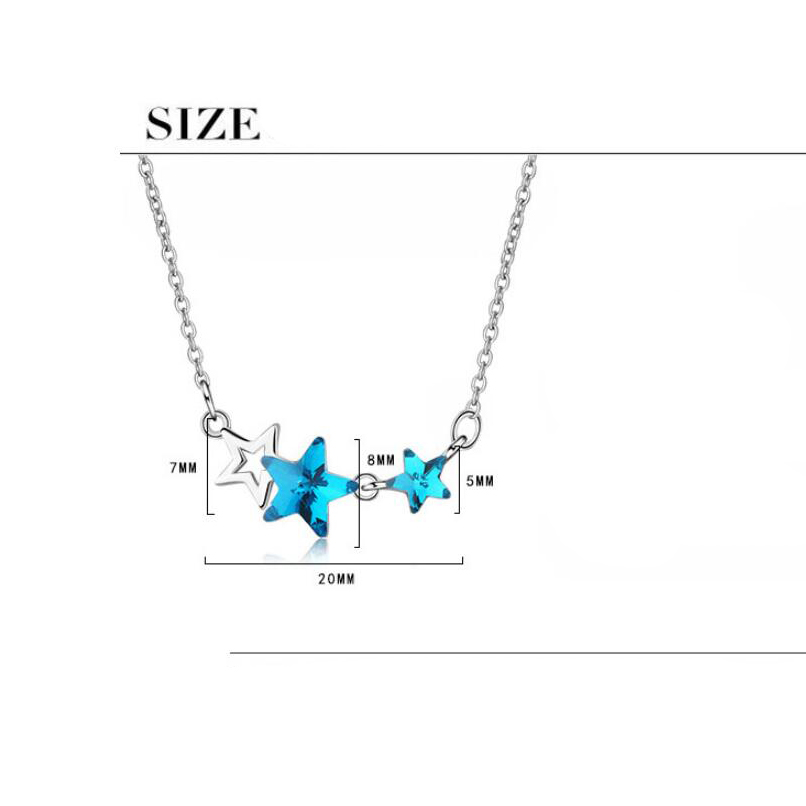 Купить с кэшбэком Sweet Artificial Blue Crystal Necklace For Women Female Pentagonal Star Short Pentacle Necklace Chain Short Clavicle Chain