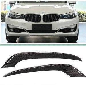 Углеродное волокно стиль ABS пластик передняя противотуманная фара полоски отделка для BMW 3 серии GT Gran Turismo F34 2013-2017 автомобильные аксессуары 2 ...