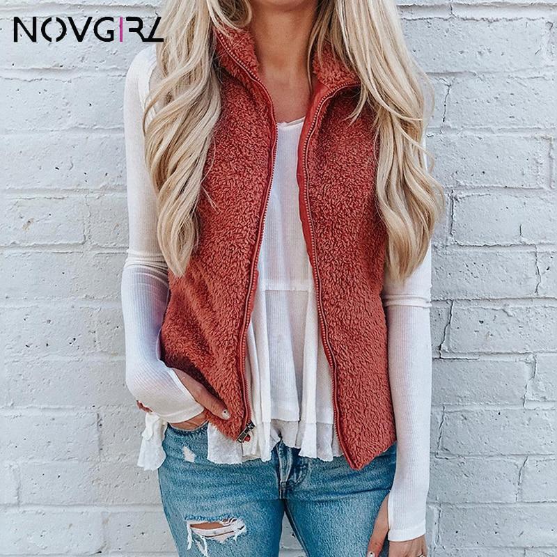Novgirl Faux Fur Velvet Warm Coat Women 2019 Autumn Winter Turtleneck Zipper   Basic     Jacket   Female Slim Cardigan Outwear Tops