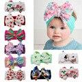 Детская повязка на голову с цветочным принтом #35, модная мягкая вязаная повязка на голову для девочек, эластичная повязка на голову с бантом ...