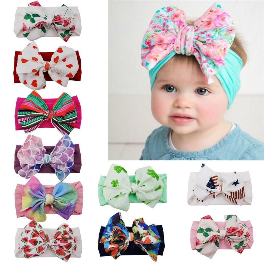 #35 moda bebê flor cruz malha macio bandana meninas bebê crianças arco nó elástico hairband arco impressão bebê bandana bebe fille