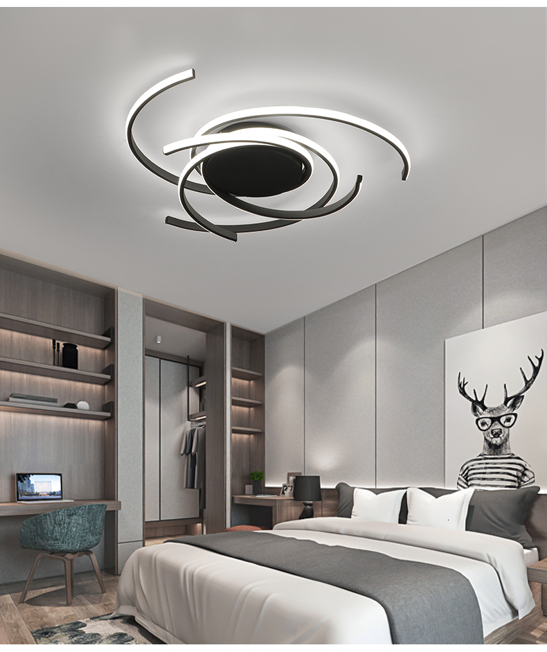 H2b75aa8c66ca4fb59350c096704c2674s Creative modern led ceiling lights living room bedroom study balcony indoor lighting black white aluminum ceiling lamp fixture