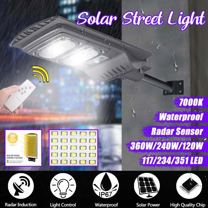 Smuxi 360 W/240 W/120 W LED Grau IP65 Solar Straße Licht Radar motion Ständig helle Induktion solar Sensor Fernbedienung