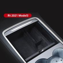 Nowy dla Tesla Model 3 Y 2021 główny schowek w podłokietniku w samochodzie pudełko typu Organizer konsola środkowa flokowanie ABS organizator pojemniki uchwyt tanie tanio Podnamat CN (pochodzenie) Pojemnik w podłokietniku Flocking ABS for tesla model 3 2021 black