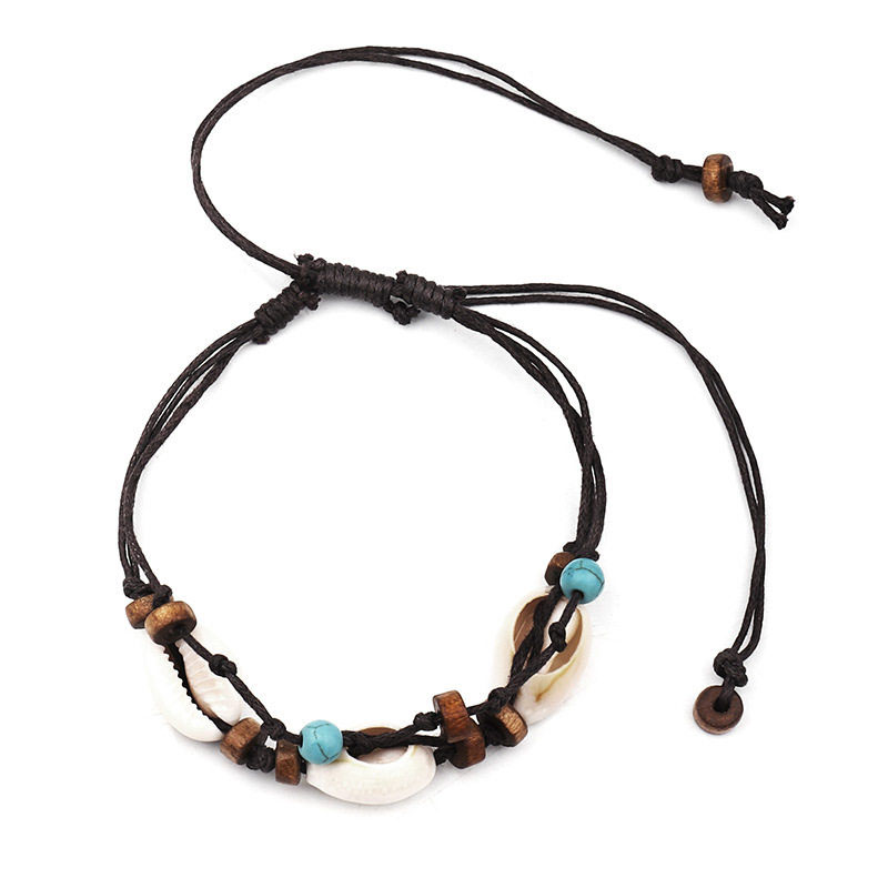 Boho Natural Sea Shell Stone Anklets For Women Wood Bead Seashell Ankle Bracelet On Leg Foot Chain Wax Rope Anklet Beach Jewelry