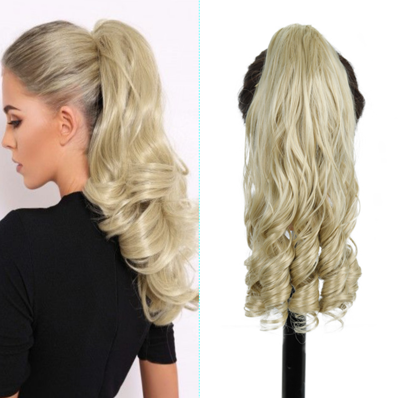 Azqueen Hair Extensions Heat Resistant Synthetic Ponytail Natural Wave Pony Tail Fake Hair Long Wavy Claw Clip in Ponytail