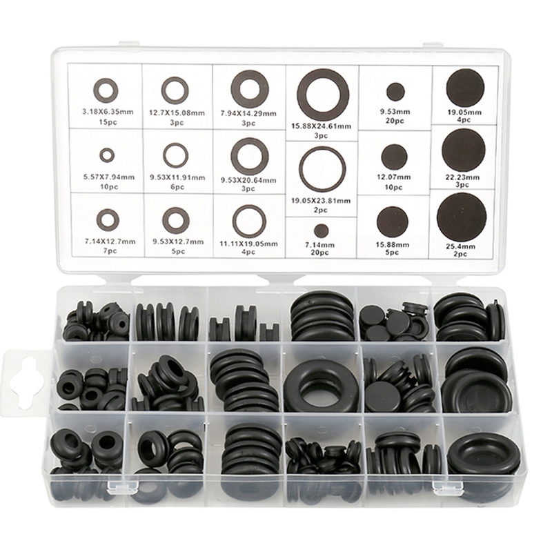 125 Piece Rubber Grommet Eyelet Ring Gasket Assortment Set Of 18 Different Sizes, With See-Through Divided Organizer Case –For A
