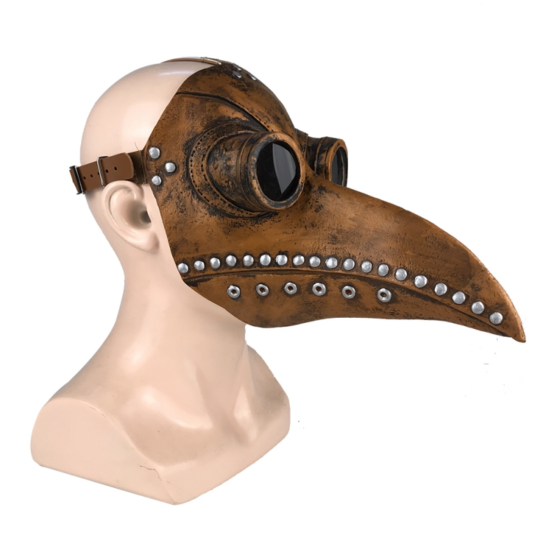 Halloween Plague Doctor Latex Mask Long Nose Beak Bird Crow Cosplay Steampunk Party Masks-in Party Masks from Home & Garden