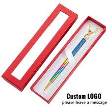 Creative Christmas Gift Pens With Box Custom Logo Ballpoint Pen Metal Reindeer Gel Kids Writing Stationery Birthday Gifts