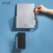 Jo vida fixado na parede transparente rack de armazenamento dormitório multifuncional caixas prateleira imagem organizador prateleira revista livro mostrar