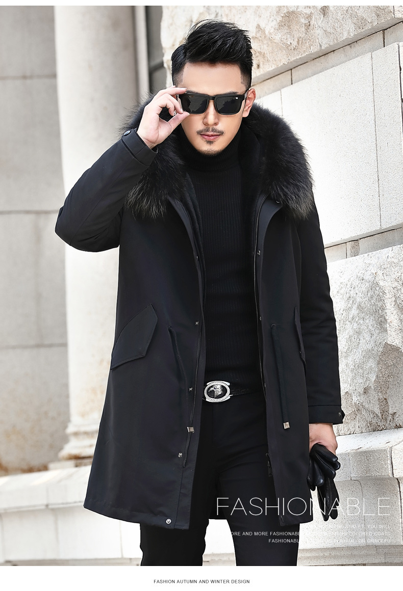Winter Jacket Men Real Pure Natural Fur Jacket Men Real Raccoon Fur Collar Parka Male 100%Wool Liner Coat L18-2511 MY724
