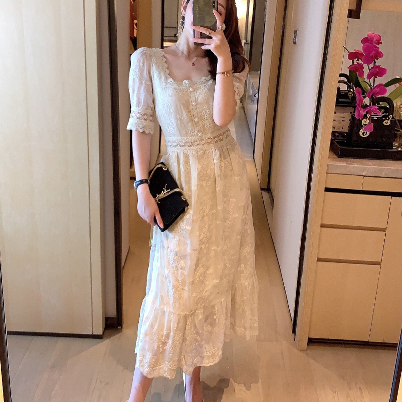 High Quality Embroidery White Lace Dress