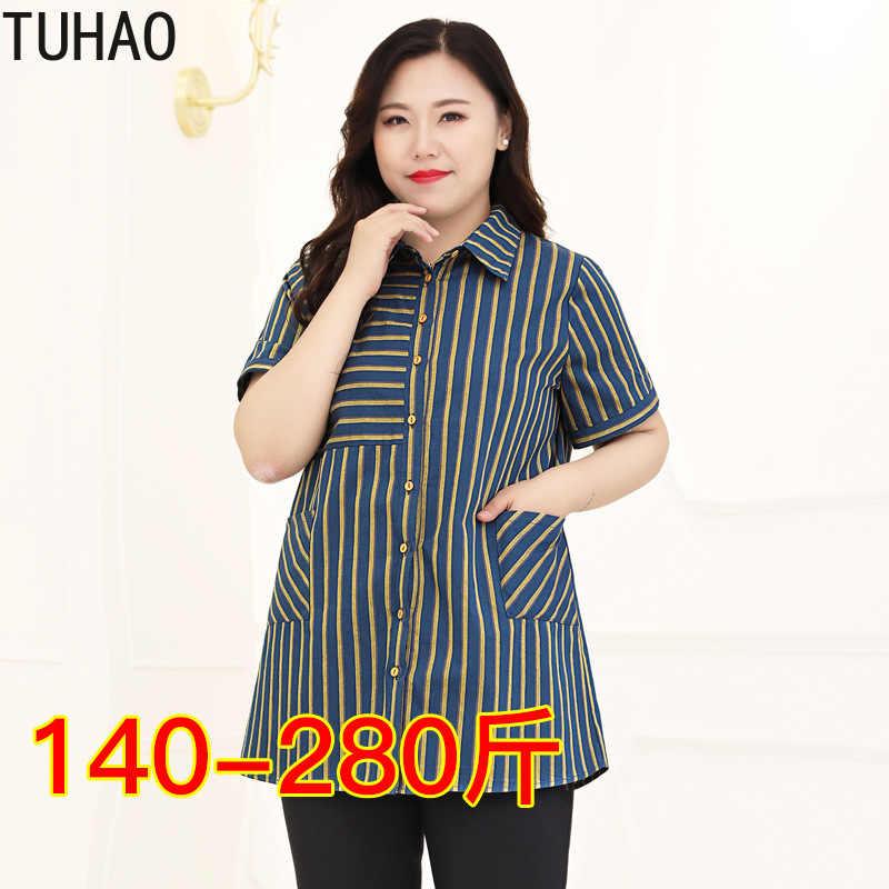 TUHAO Женские топы и блузки мода с коротким рукавом, для женщин рубашки офисные пуловеры Полосатый Топ Плюс размер 10XL 9XL 8XL блузка WM15