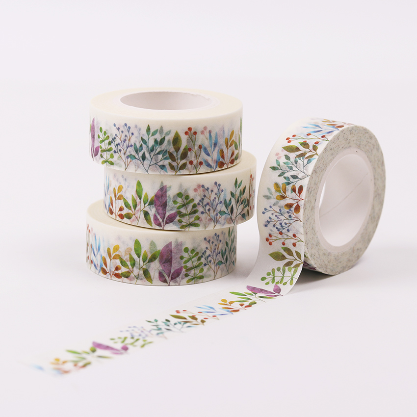 Herbaceous Plant Paper Washi Tape Diy Decoration Scrapbooking Planner Masking Tape Adhesive Tape Kawaii Stationery 1.5cm X10m