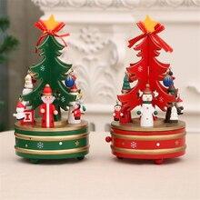 НОВАЯ РОЖДЕСТВЕНСКАЯ ЕЛКА Музыкальная шкатулка украшения Рождественская деревянная вращающаяся музыкальная шкатулка рождественское внутреннее украшение для детей подарок 20