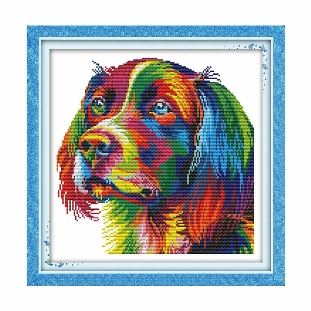 קשת כלב צלב תפר ערכת אאידה 14ct 11ct לספור מודפס בד תפרים רקמת DIY בעבודת יד רקמה