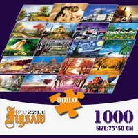 1000 pièces Puzzle bricolage monde chef-d 'œuvre paysage jouets éducatifs enfants chambre décoration autocollants 75*50 cm avec sac de rangement