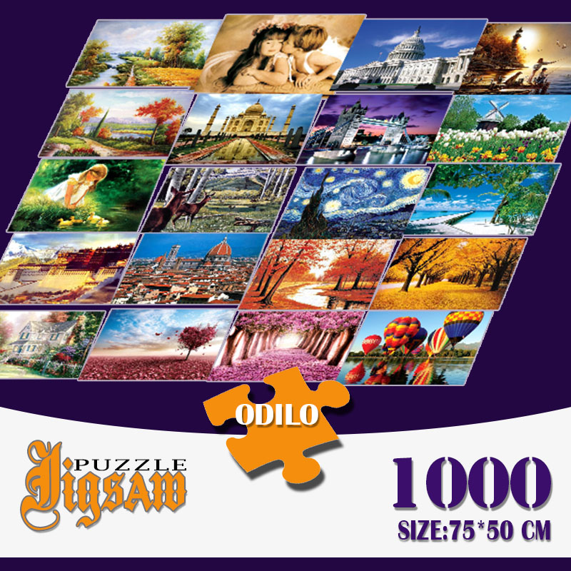 1000Pcs Jigsaw Puzzle DIY World Masterpiece Landscape Educational Toys Kids Room Decoration Stickers 75 * 50cm With Storage Bag