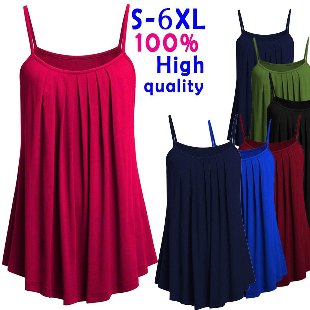 Fashion Plus Size Tank Tops Women Tops Pleated Strap tshirt Camisole Tops Casual Summer Lady Sexy Solid Tops Vest Female Blusas