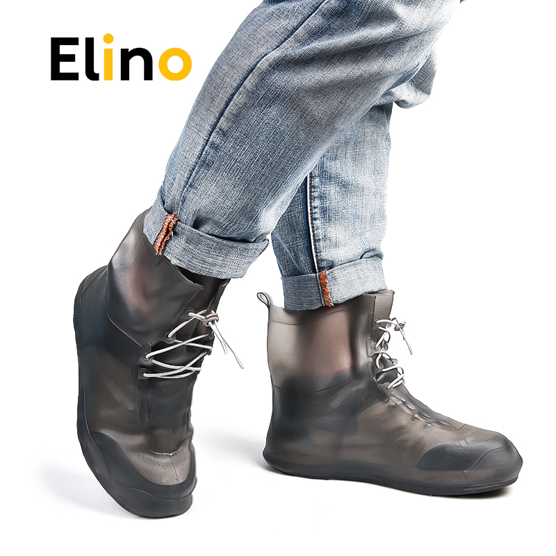 Elino PVC Waterproof Shoe Cover Travel Rain Overshoes Reusable Shoe Protection Anti-slip Thicken Cycle Rain Boots For Men Women