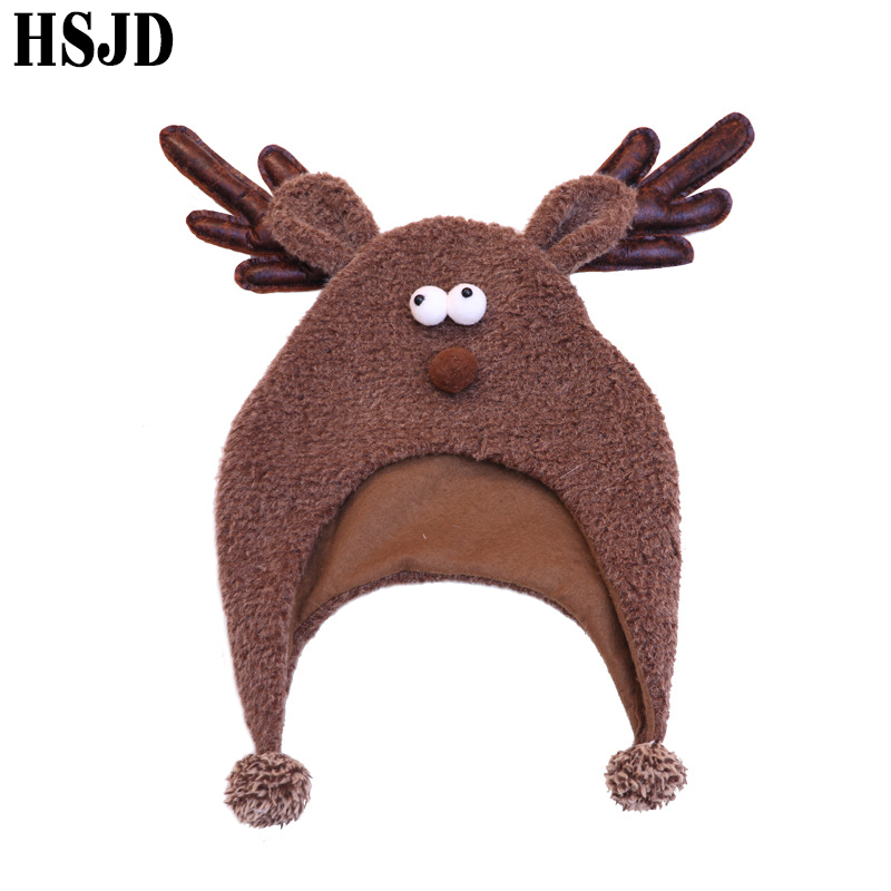 Funny Cartoon Animal Winter Caps With Elk Antlers Christmas Hats For Women And Men Thick Velvet Warm Ear Cap Xmas Gift