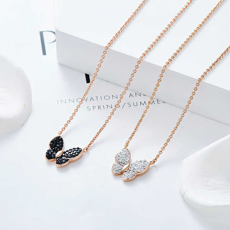 Cdyle Perhiasan Mewah 40 Cm Emas Kalung Rantai Kualitas Atas Hitam Kristal Butterfly Liontin Kalung untuk Wanita Fashion 2019