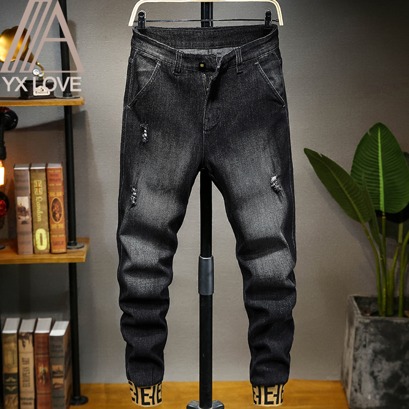 Men Jeans Pants 28-48 Large Size Loose High Elastic Straight  Comfortable Trousers Classic Hip Hop Punk Causal Daily Clothes