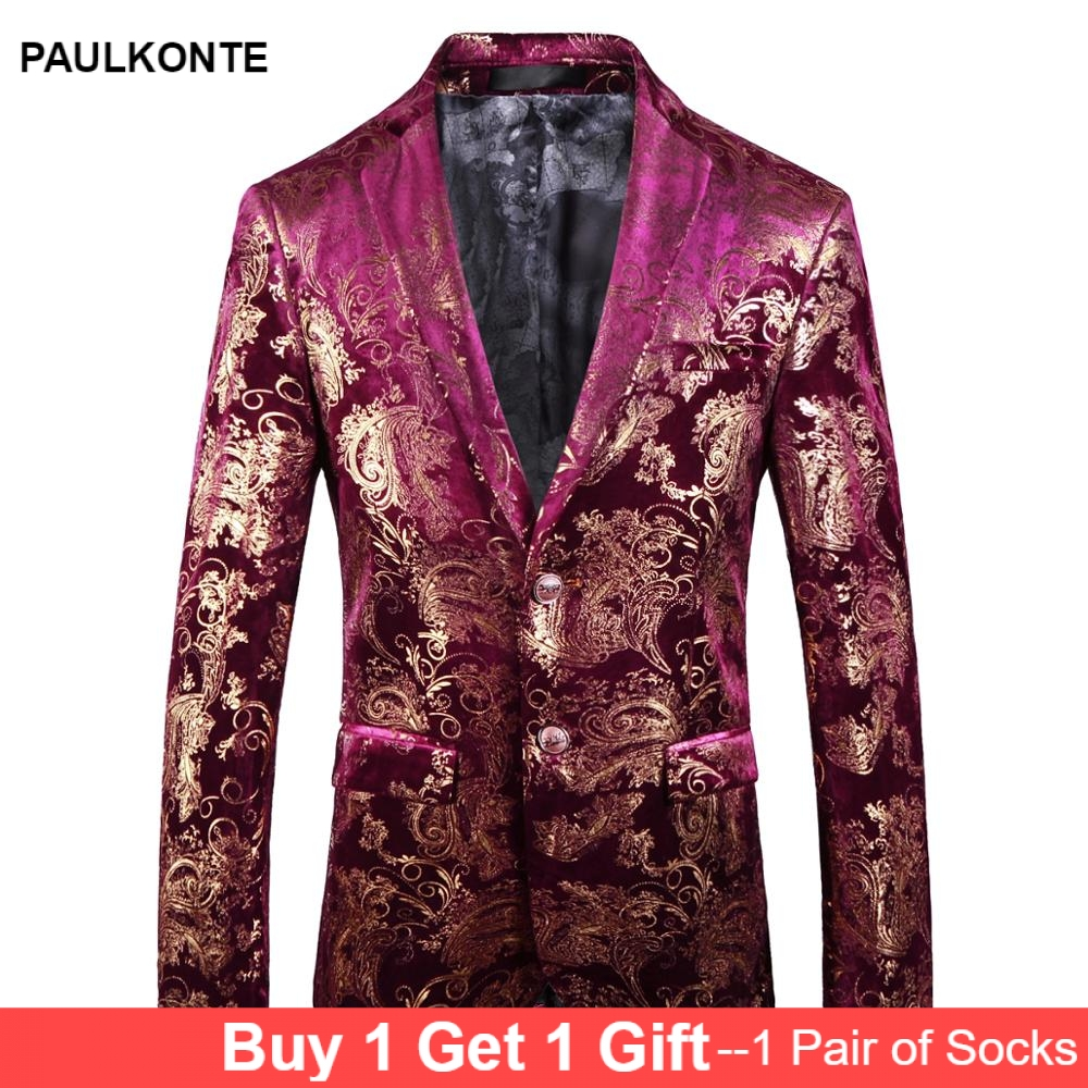 2019 New MenS Printed Suit Jacket High-End Fashion Personality Party Purple Red Gentleman Formal