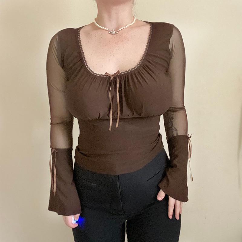 Женская футболка с длинным рукавом wannathis тонкая сексуальная
