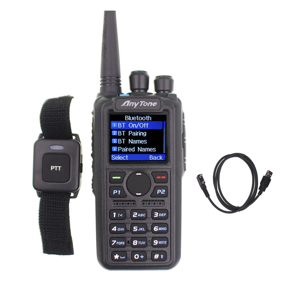 Anytone AT-D878UV Plus DMR Radio VHF 136-174MHz UHF 400-470MHz GPS APRS Bluetooth Walkie Talkie Ham Radio Station With A Cable