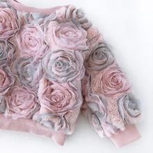Baby Kids Flower Mesh Baby Girl Sweatshirts 2-8Y