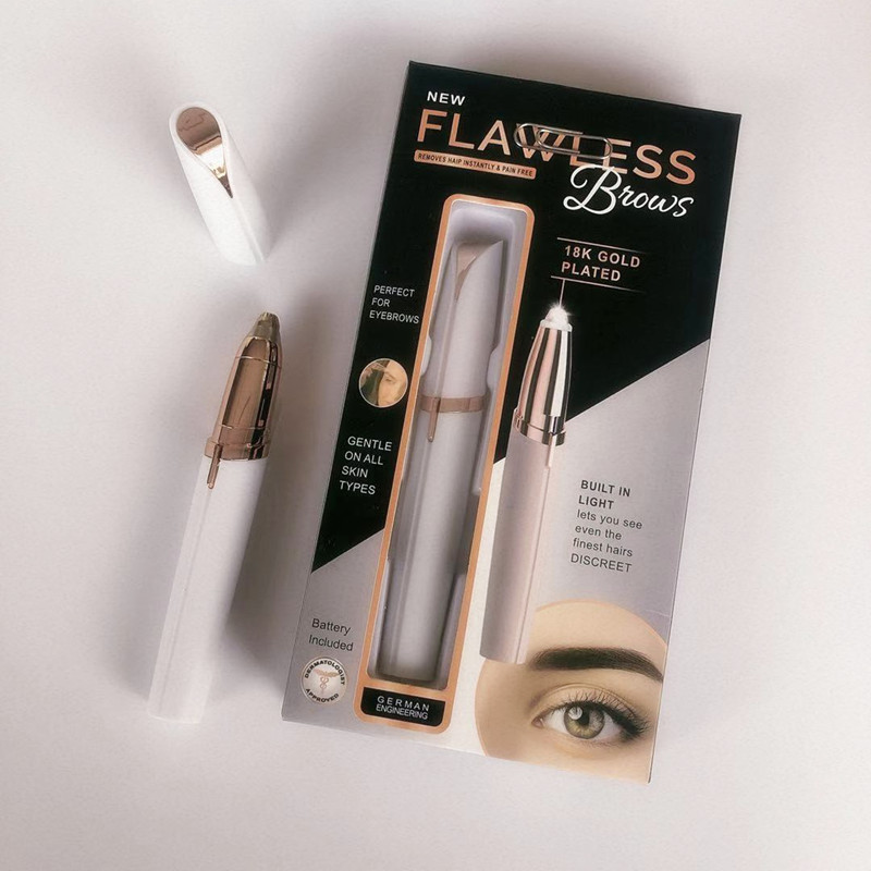 New Style Shave Eyebrow Trimmer Flawlbss Brows Lipstick Eye-brow Shaper LED Eyebrow Fixing Pen TV Electric Eyebrow Instrument