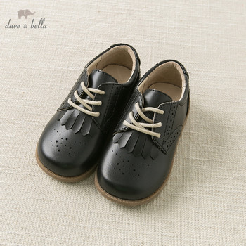 DB11316 Dave Bella autumn baby girl  black  leather shoes lace-up high quality children brand shoes