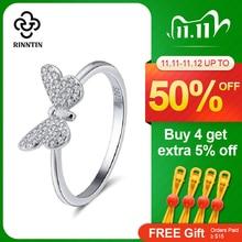 Anel feminino de prata esterlina 925 rinntin, padrão de borboleta com zircônia aaa, brilhante, joias finas femininas s925 tsr59